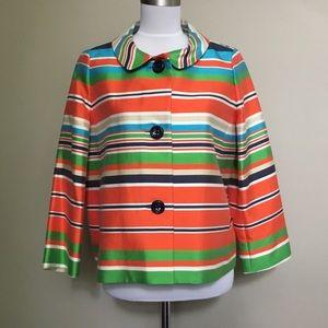 KATE SPADE multi stripe Silk swing blazer jacket 6